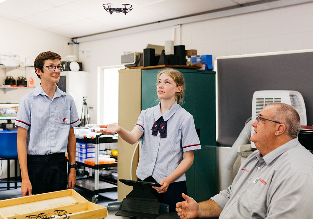 Caloundra Christian College secondary students with drone
